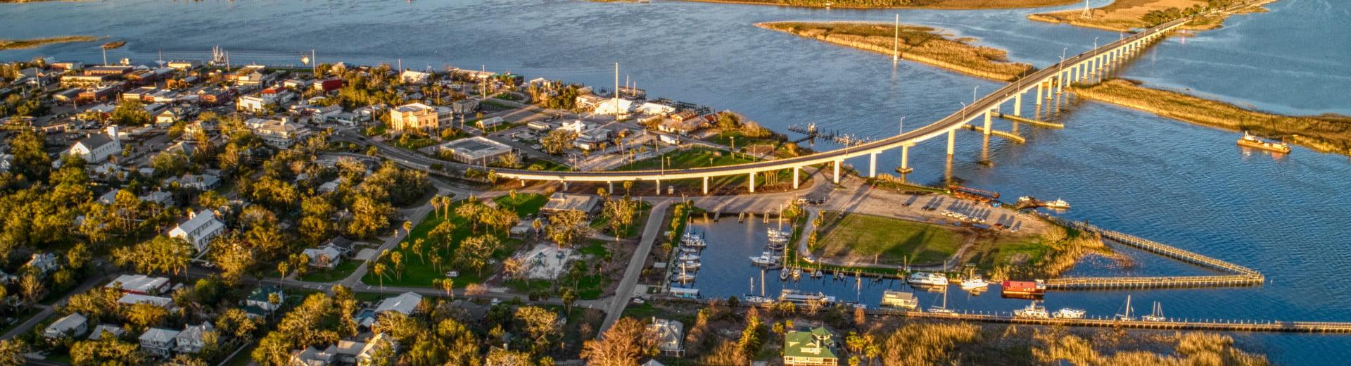 Apalachicola FL Real Estate aerial of Apalachicola Bridge